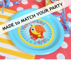 """12 MADE-TO-MATCH<br>Personalized Party Plates 7"""" Cake & Snack Size"""