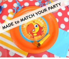 """12 MADE-TO-MATCH<br>Personalized Party Plates 9"""" Meal Size Qty.12"""