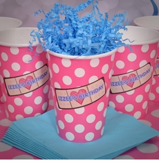 12 Pink & White Polka Dots Doc McStuffins Personalized Party Cups