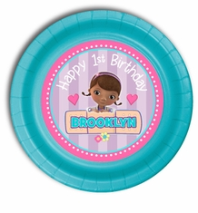 "12 Turquoise Blue Doc McStuffins Personalized Party Plates 7"" Cake & Snack Size"
