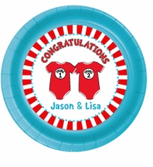 "12 Twin 1 Twin 2 Dr. Seuss Onesies Personalized Twin Baby Shower Plates 7"" Cake & Snack Size"