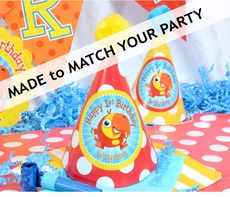 24 MADE-TO-MATCH<br>Personalized Guest Party Hats Qty.24