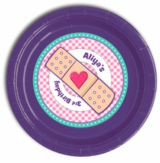"24 Purple Doc McStuffins Personalized Party Plates 9"" Meal Size"