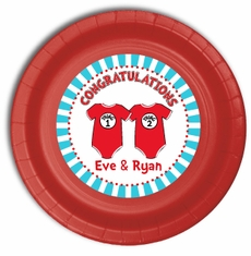 "24 Twin 1 Twin 2 Dr. Seuss Onesies Personalized Twins Baby Shower Plates 9"" Meal Size"