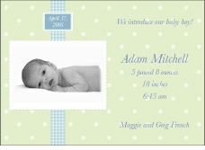 Adorable Dots Boy Photo Birth Announcement