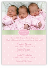 Adorable Dots GGG Photo Triplet Birth Announcement