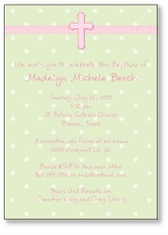 Adorable Dots Girl Baptism Invitation