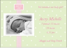 Adorable Dots Girl Photo Birth Announcement