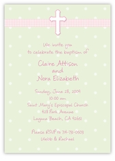 Adorable Dots Girl Twins Baptism Invitation