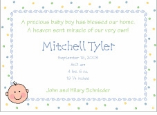 Baby Face Boy Birth Announcement