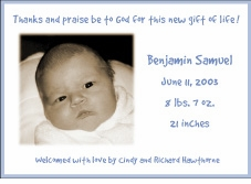 Blue Border HZ Boy Photo Birth Announcement
