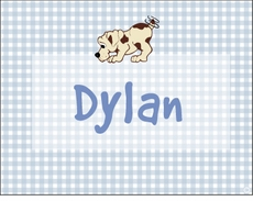 Blue Gingham Puppy Note Cards
