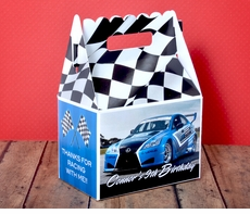 Blue Race Car Checkered Flag Racing Party <br>Personalized Gable Box Party Favor