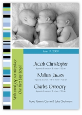 Candy Stripe Triplet Boys Photo Birth Announcement