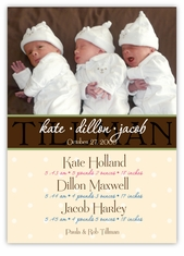 Chic Chocolate Photo Triplet B&G Birth Announcement
