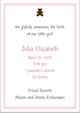Chocolate Bear Girl Birth Announcement