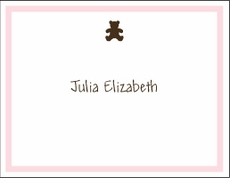 Chocolate Bear Pink Border Note Card
