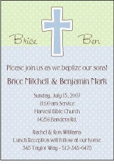 Chocolate Dots Boy Twins Baptism Invitation