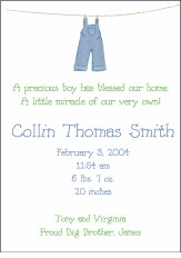 Clothesline Boy Birth Announcement
