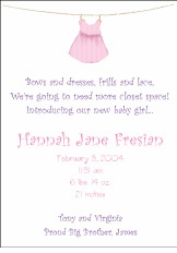 Clothesline Girl Birth Announcement