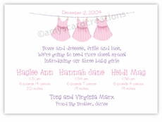 Clothesline Girl Triplet Birth Announcement