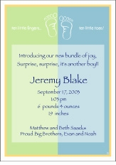Color Block Boy Birth Announcement