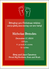 Color Block Christmas Birth Announcement