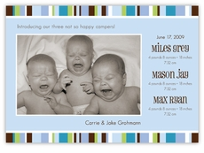 Cool Blue Stripes Triplets Photo Birth Annoucement