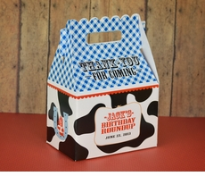 Cowboy Ranch Farm Buckeroo Party<br>Personalized Cow Print Gable Box Party Favor