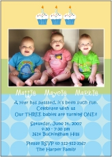 Cupcakes Boy Triplets Photo Birthday Invitation