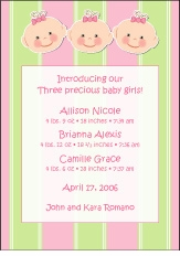 Cutie Pies Triplet Girls Birth Announcement