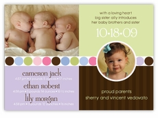 Darling Divide Photo Triplet B&G Birth Announcement