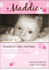 Delicious Dots Girl Photo Birth Announcement