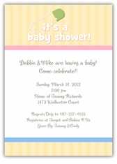 Diaper Pin on Stripes Baby Shower Invitation