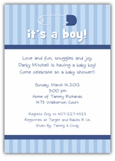 Diaper Pin on Stripes Boy Baby Shower Invitation