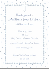Dots-n-Swirls Boy Baptism Invitation