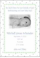 Dots-n-Swirls Boy Photo Birth Announcement