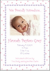 Dots-n-Swirls Girl Photo Birth Announcement