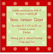 Dots on Square Christmas Birth Announcement