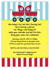 Dr. Seuss Thing 1 & Thing 2 Prams Twins Baby Shower Invitation