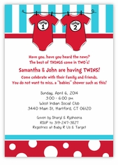 Dr Seuss Twin 1 & Twin 2 Boys Onesies on Baby Shower Invitation