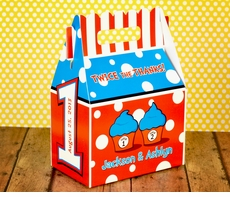 Dr. Seuss Twin 1 & Twin 2 Cupcakes FIRST Birthday<br>Personalized Gable Box Favor