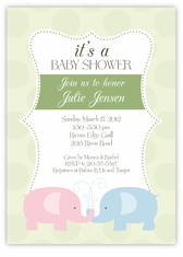Elegant Elephants Baby Shower Invitation