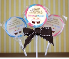 First Dots Twins Birthday<br>Personalized Lollipop Favors