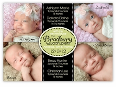 Four Corners for Cuties Naptime Quadruplets Photo Birth Announcement