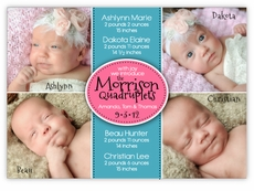 Four Corners for Cuties Playtime Quadruplets Photo Birth Announcement