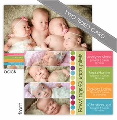 Four Times the Fun Two Sided Boy and Girl Quadruplets Photo Birth Announcement