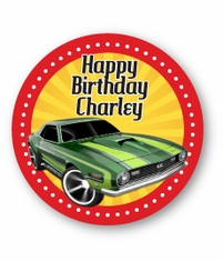 "Hot Wheels Race Car Party<br>Personalized 2.25"" Stickers"