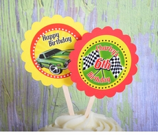 Hot Wheels Race Car<br>Personalized Cupcake Toppers / Picks