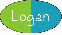 Lime/Turquoise Color Block Oval Sticker